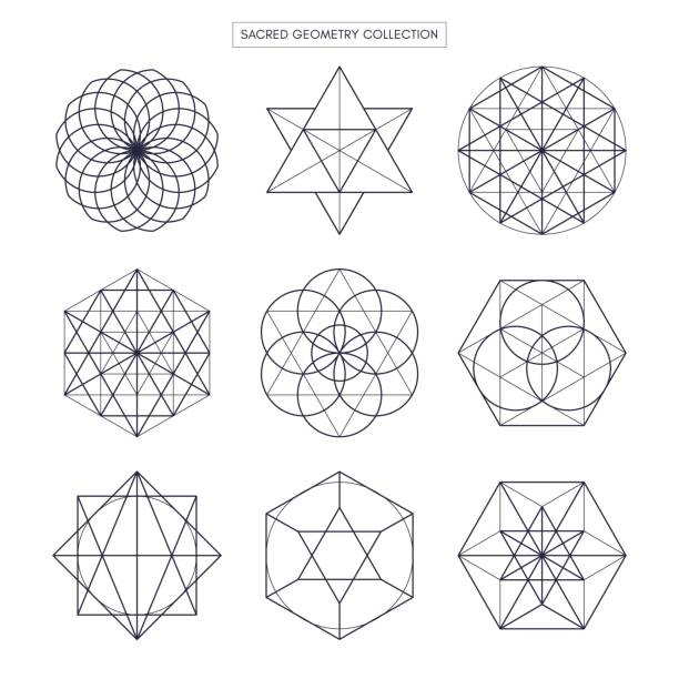 Geometría sagrada. Original vector outline (contorno no ampliada). Fondo blanco. - ilustración de arte vectorial