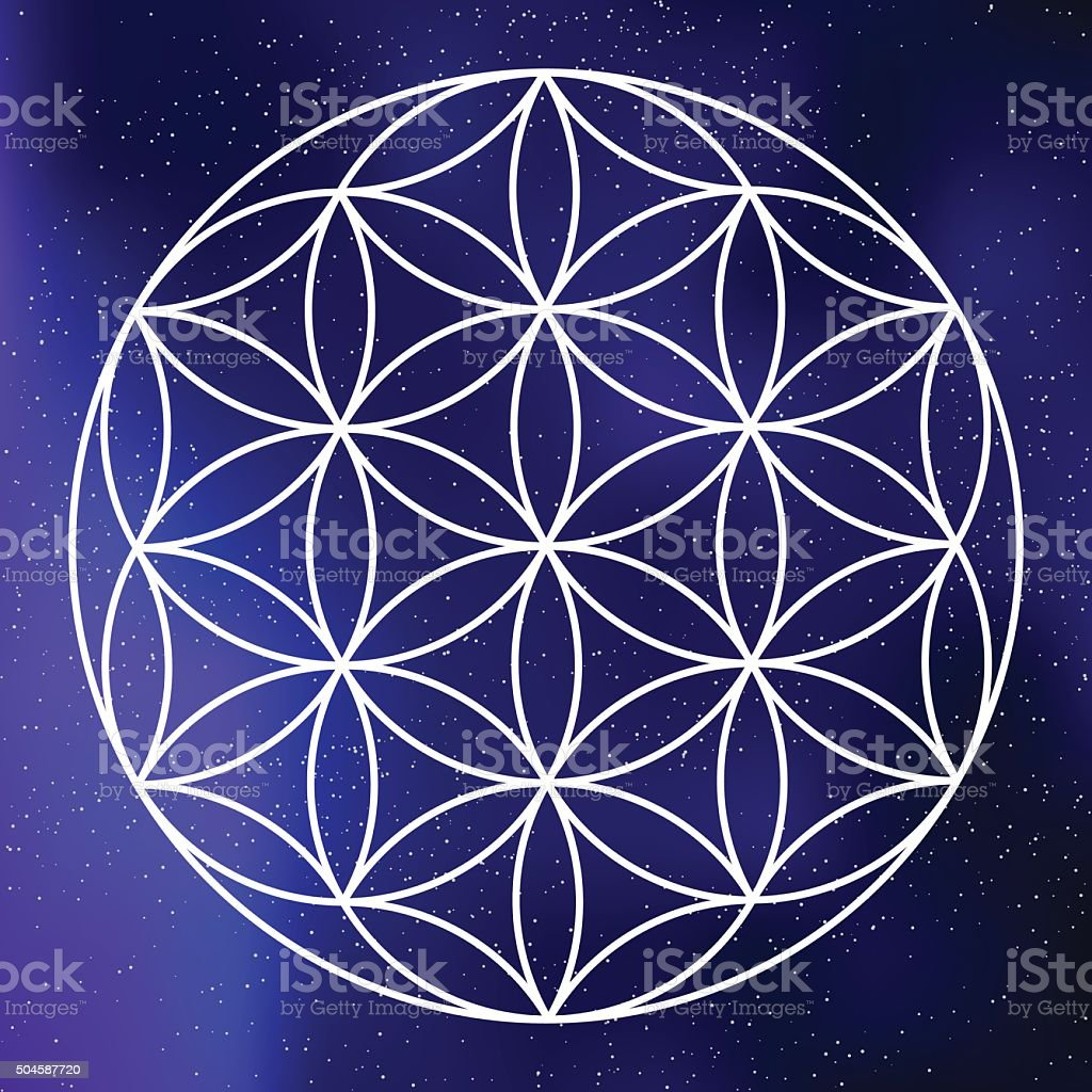 Sacred Geometry Seed Of Life Icon On A Galactic Background Stock