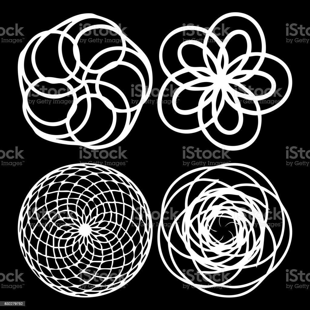 Sacred geometry set. Minimal geometric circular ornament shapes ethnic collection for business labels, trendy hipster linear mandala symbols. vector art illustration