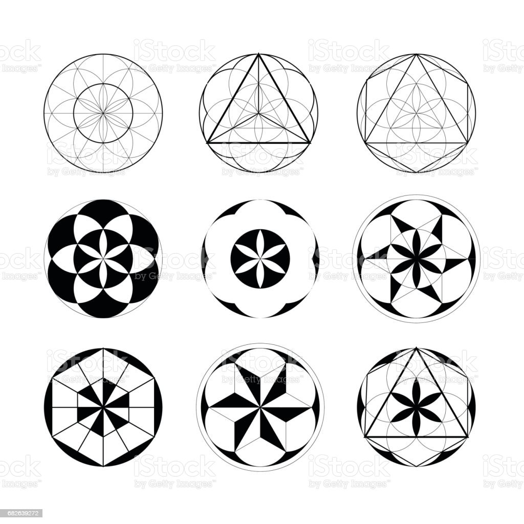 Sacred Geometry. Set of geometric linear elements. vector art illustration