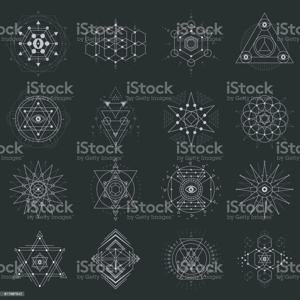Sacred geometry set on black background vector art illustration