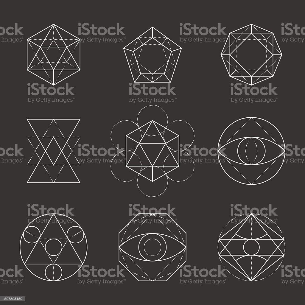 Sacred Geometry Shapes. Spirituality, Alchemy, Religion, Hipster vector art illustration