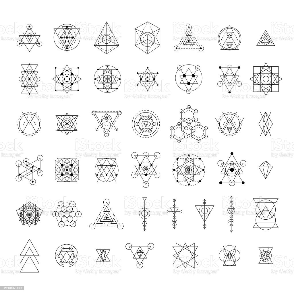 Sacred geometry signs collection - ilustración de arte vectorial