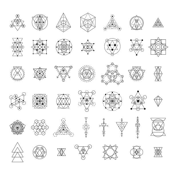 sacred geometry signs collection - wissenschaftssymbole stock-grafiken, -clipart, -cartoons und -symbole