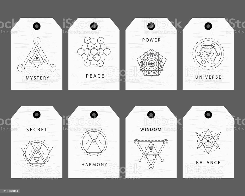 Sacred geometry signs labels set - ilustración de arte vectorial