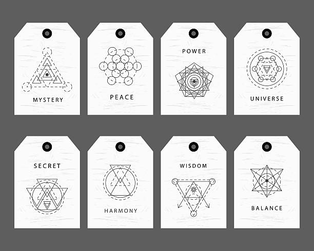 Sacred geometry signs labels set vector art illustration
