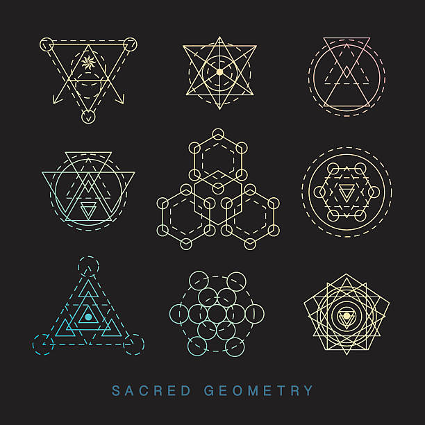 Sacred geometry signs set. Linear Modern Art vector art illustration