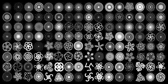 Sacred geometry signs set. Set of alchemy religion, philosophy spirituality  symbols and elements. Hipster symbols and elements geometric shapes flower of life linear contour. Vector.