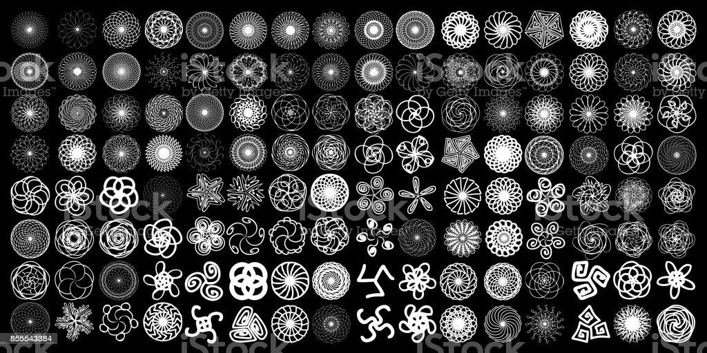 Conjunto de sinais de geometria sagrada. Conjunto de elementos, símbolos de espiritualidade filosofia e religião de alquimia. Hipster símbolos e elementos formas geométricas flor do contorno linear de vida. Vector. - ilustração de arte em vetor