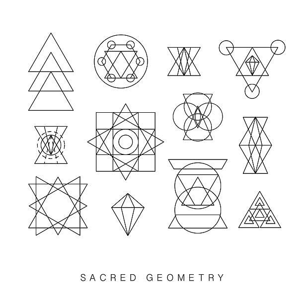 Sacred geometry signs set vector art illustration