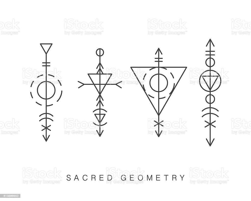 Sacred geometry signs set - ilustración de arte vectorial