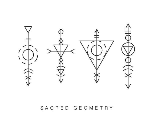 Sacred geometry signs set - ilustración de arte vectorial