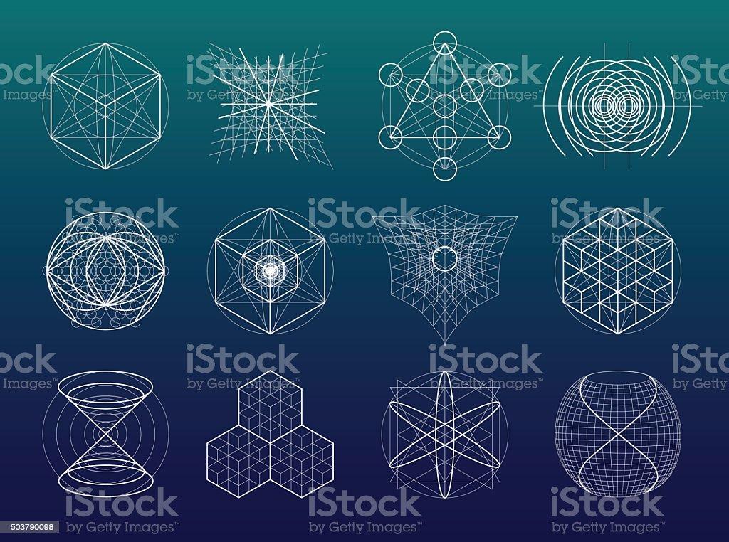 Geometría Sagrada conjunto de símbolos y elementos. - ilustración de arte vectorial