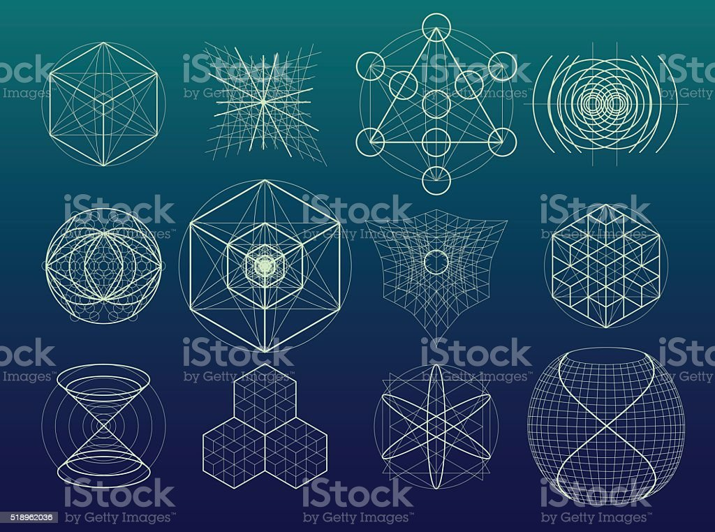 Sagrado geometria símbolos e elementos série. - ilustração de arte em vetor
