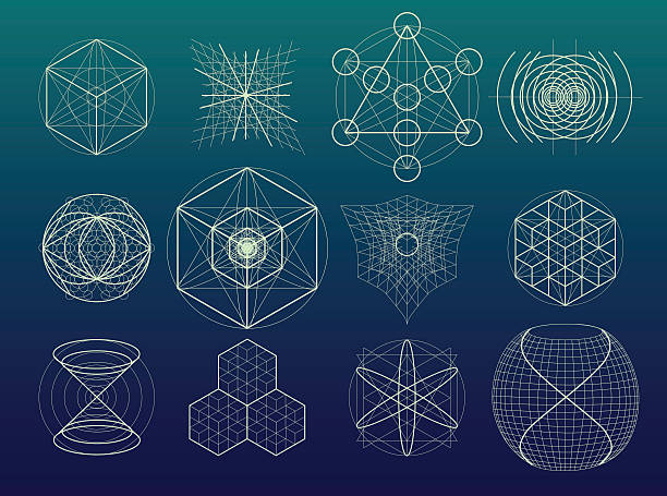Sacred geometry symbols and elements set. vector art illustration