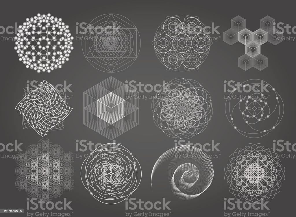 Sacred Geometry Symbols And Elements Set Stock Vector Art
