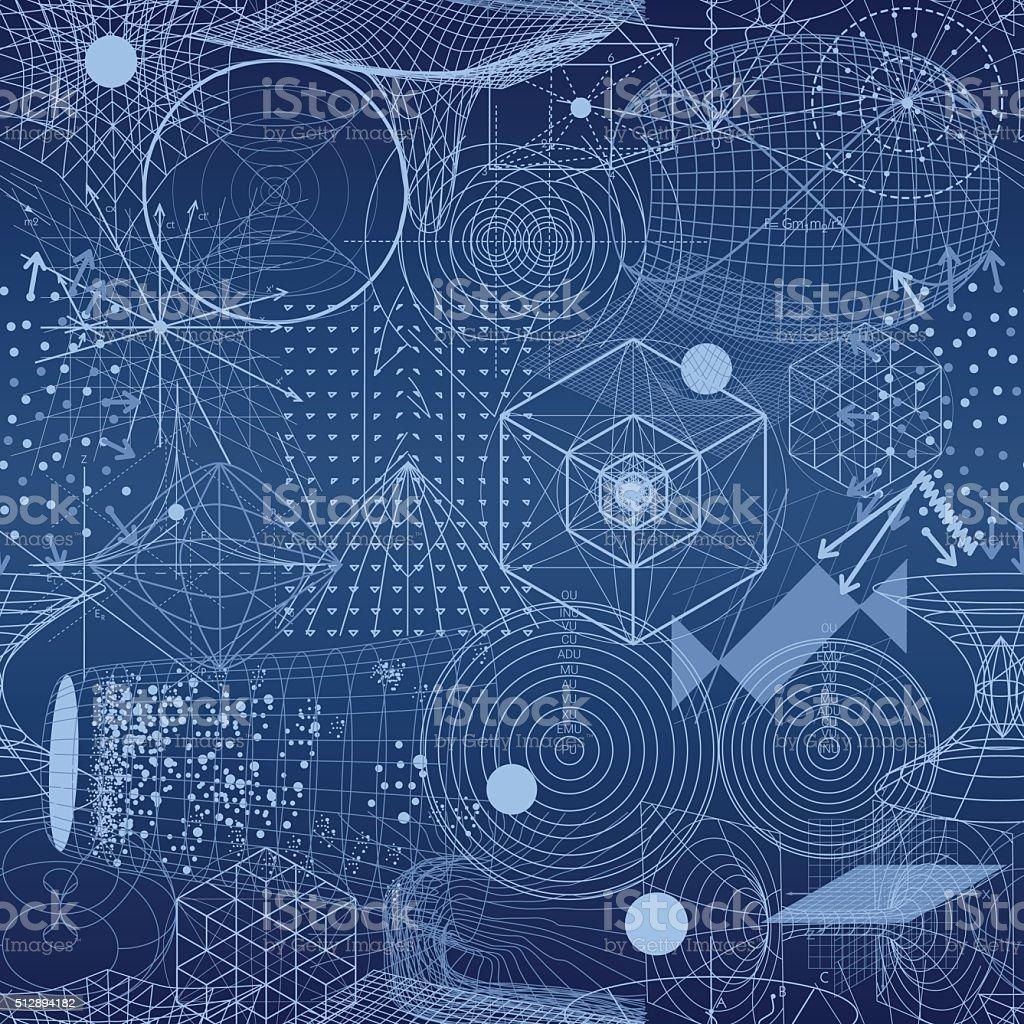 Geometría Sagrada símbolos y elementos de papel tapiz patrón continuo - ilustración de arte vectorial