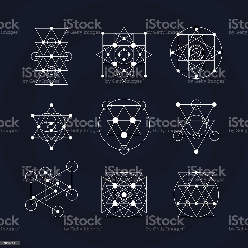 sacred geometry symbols stock vector art more images of abstract