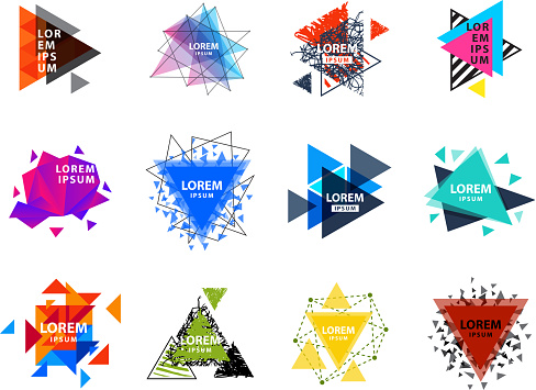 Sacred geometry triangle abstract icon figures elements mystic polygon creative triangulum vector illustration
