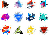 Sacred geometry triangle abstract icon figures elements mystic polygon triangulum creative square vector illustration. Mystical and esoteric forms spiritual badge trendy hexagon line modern star.