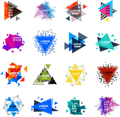 Sacred geometry triangle abstract logo figures elements mystic polygon creative triangulum vector illustration