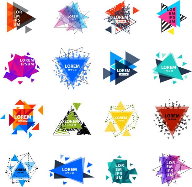 Geometría sagrada triángulo Abstracto logotipo figuras elementos místico polígono creativo triángulo vector ilustración - ilustración de arte vectorial