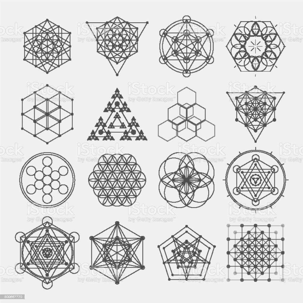 Sacred geometry vector design elements. vector art illustration