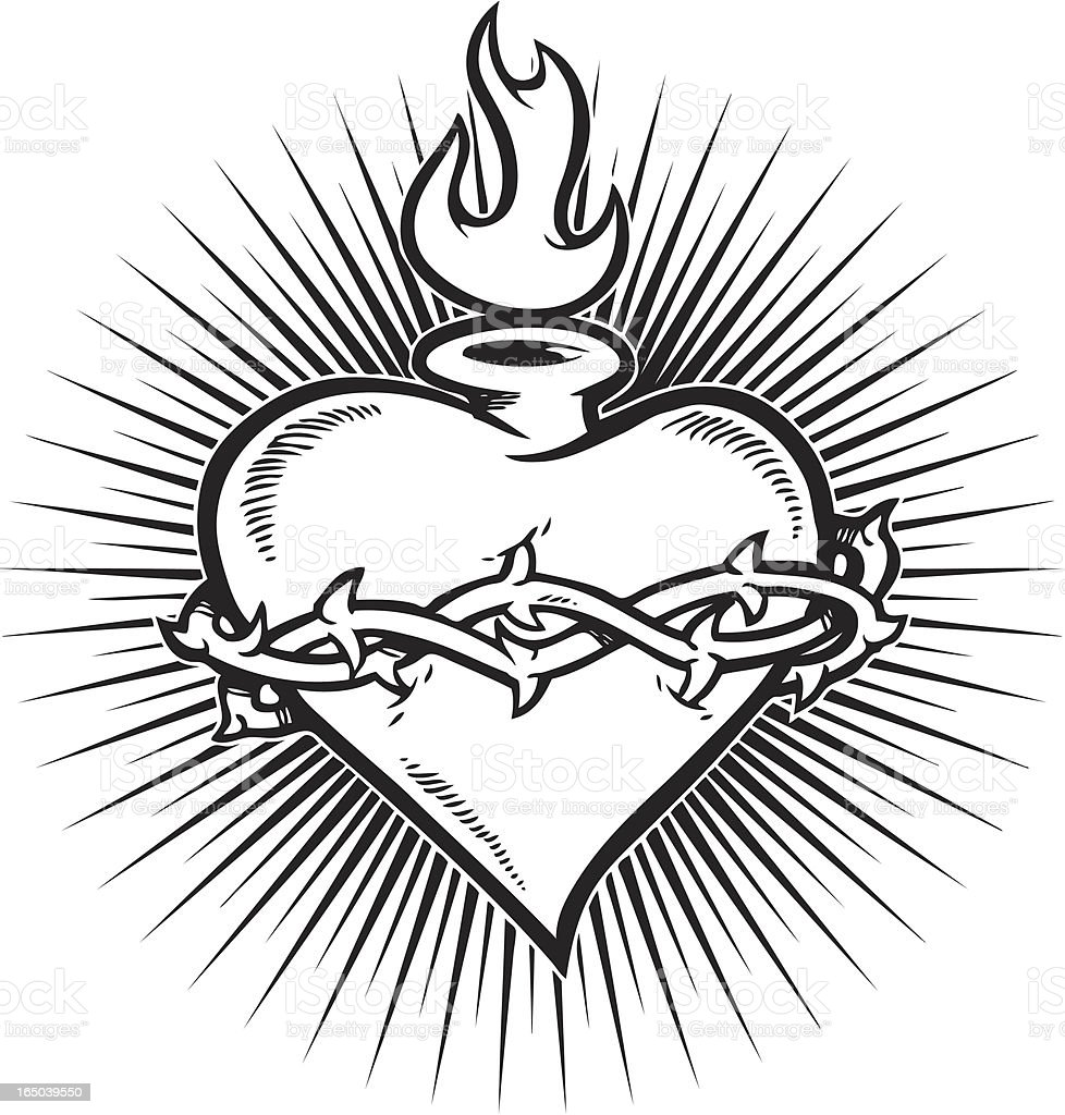 Sacred Heart Burst Stock Vector Art & More Images of