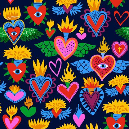Sacred heart cartoon icon background pattern