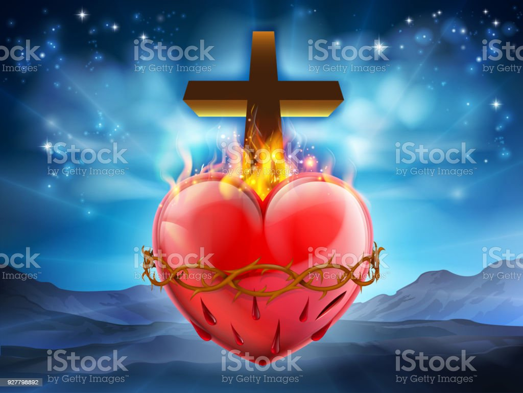Sacred Heart Christian Illustration vector art illustration