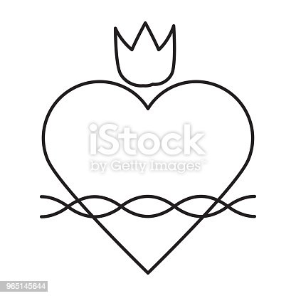 Sacred Heart Line Icon Stock Vector Art & More Images of Abstract
