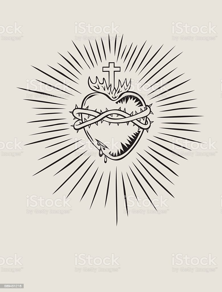 Sacred Heart Of Jesus Stock Illustration - Download Image Now - iStock