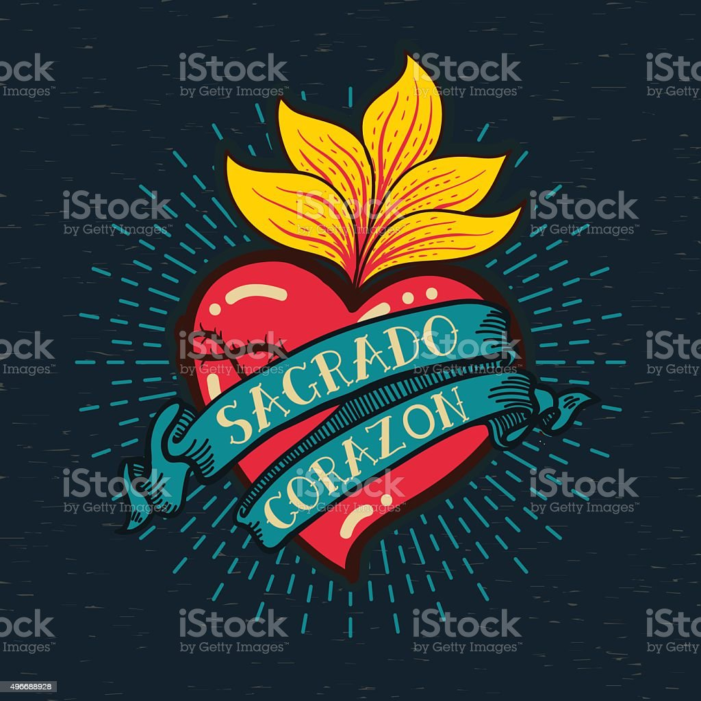 Sacred Heart old schooll style vector art illustration