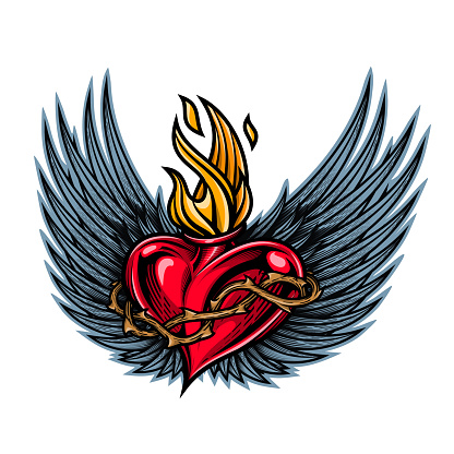 Sacred heart with angel wings.