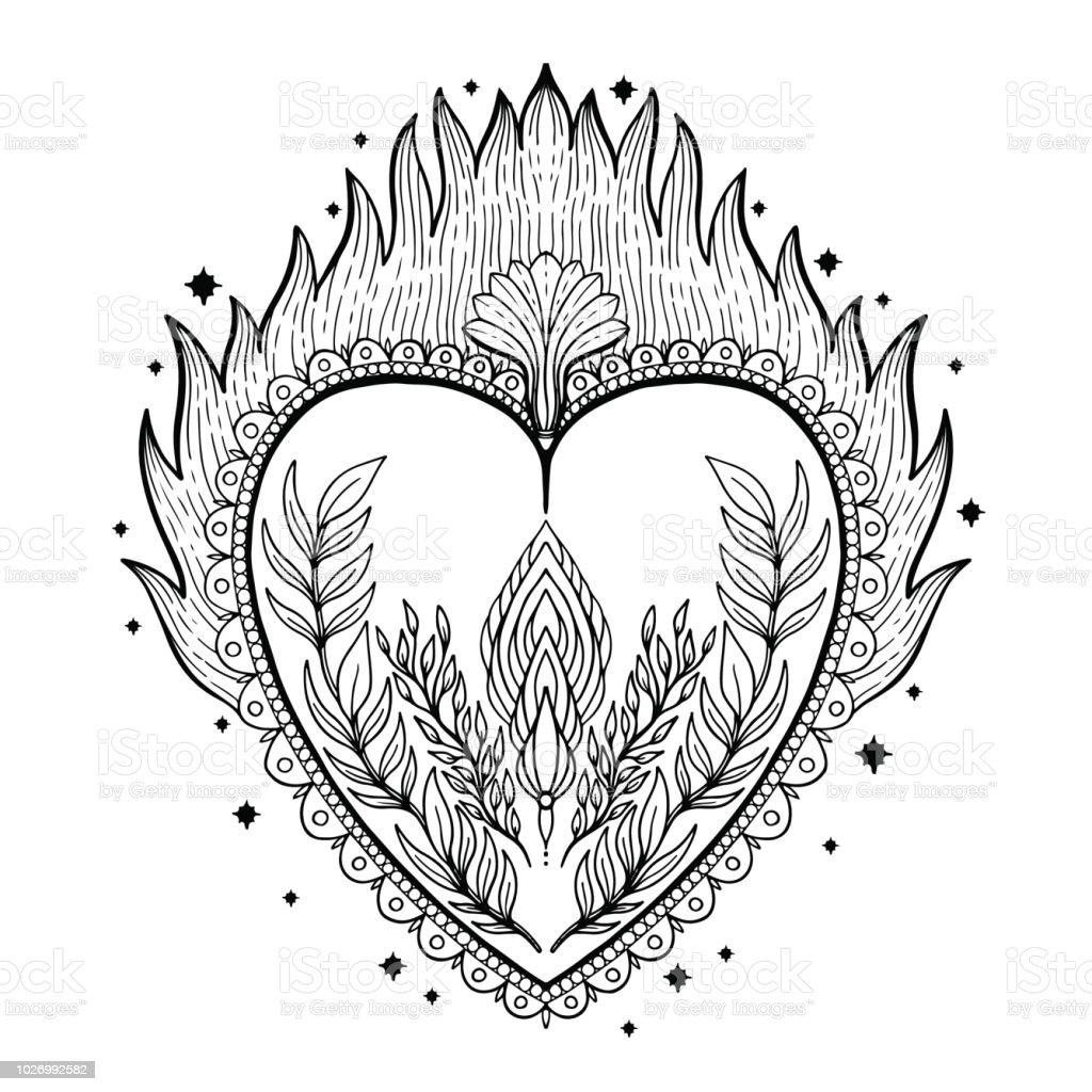Ilustración De Sagrado Corazón Santo Jesús Símbolo De La Religión De