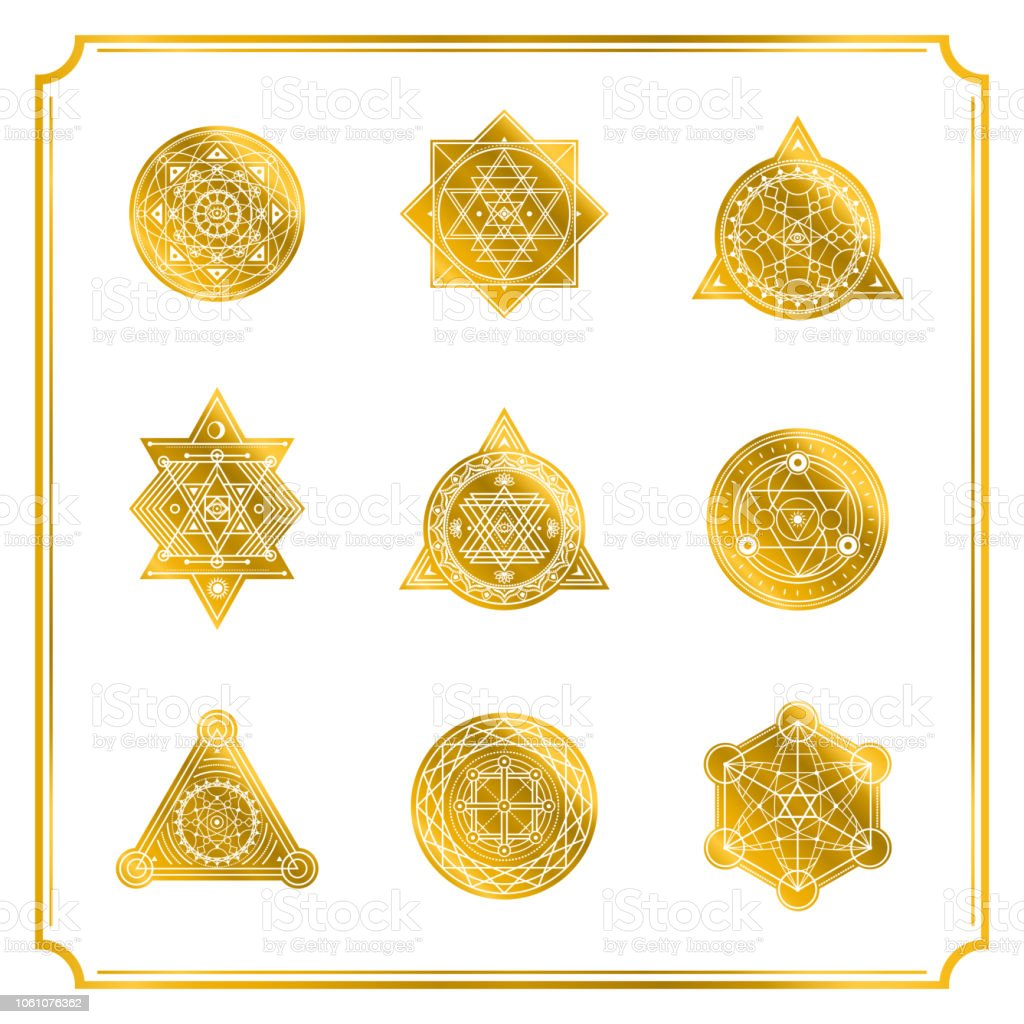 Sacred Shapes With Frame On White Background Vector Stock Vector Art ...