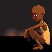Sad African refugee child boy in a poor dress on