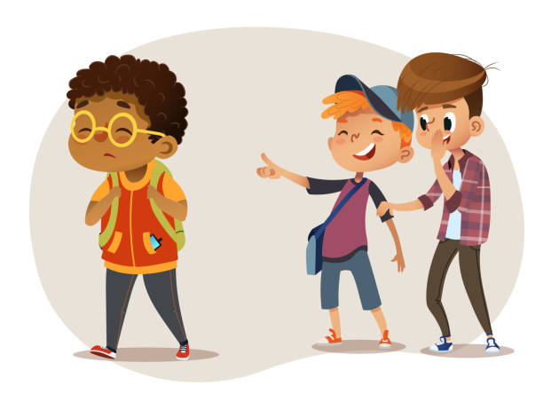 Sad African-American boy wearing glasses going through school. School boys laughing and pointing at the obese boy. Body shaming, fat shaming. Bulling at school. Vector illustration. Isolated Sad overweight African-American boy wearing glasses going through school. School boys and gill laughing and pointing at the obese boy. Body shaming, fat shaming. Bulling at school. Vector illustration infamous stock illustrations