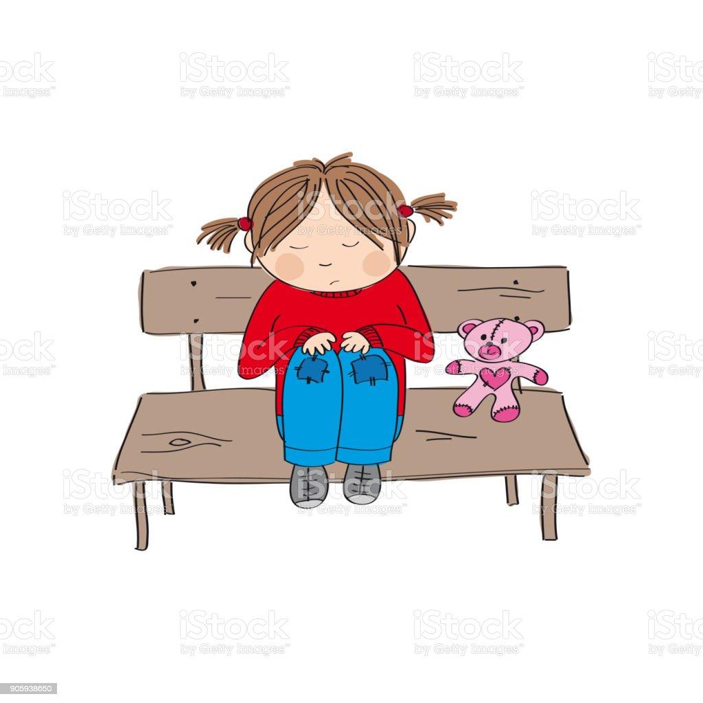 Alone Cartoon Girl sad and alone little girl sitting on the bench original hand