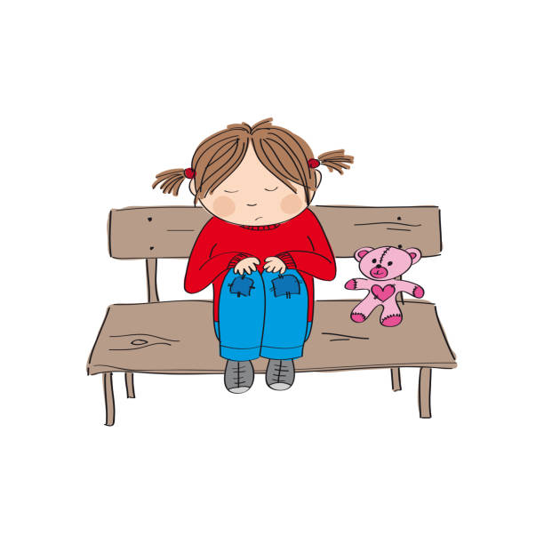 Royalty free curled up in fetal position clip art vector - Cartoon girl sitting alone ...