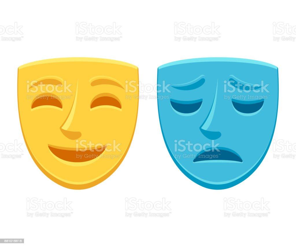 Máscara de teatro triste y feliz - ilustración de arte vectorial