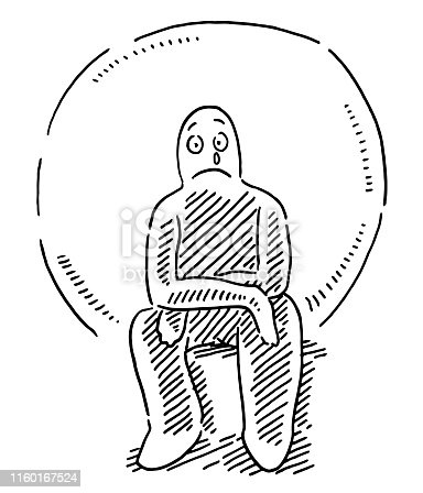 Hand-drawn vector drawing of a Sad And Lonely Human Figure. Black-and-White sketch on a transparent background (.eps-file). Included files are EPS (v10) and Hi-Res JPG.