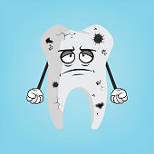 Sad bad tooth vector illustration design