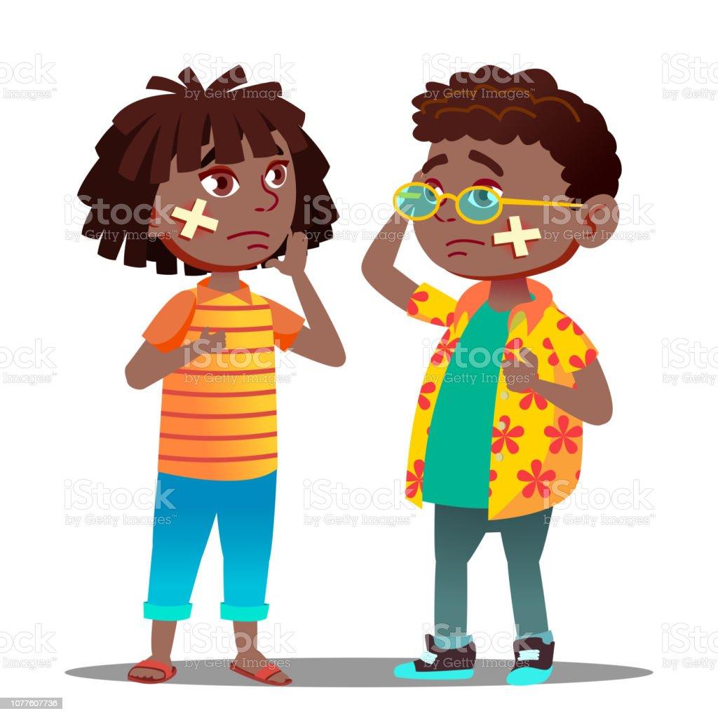 Triste Noire Afro Américaine Enfant Fille Garçon Avec Croix