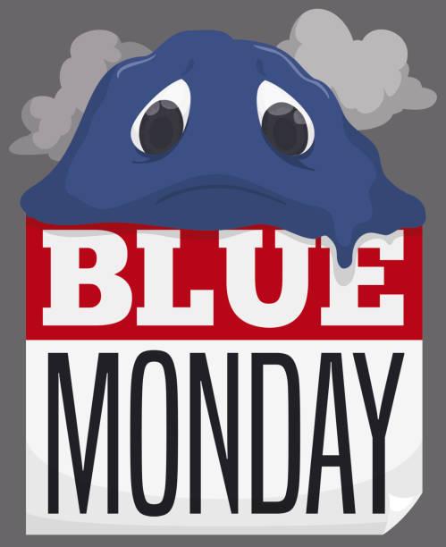 stockillustraties, clipart, cartoons en iconen met triest blob smelten over losbladige kalender tijdens blauwe maandag - blue monday