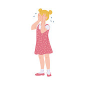 istock Sad blonde kid girl crying covering face with her hands a vector illustration 1281100657