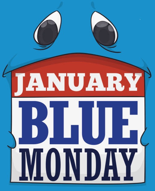 illustrazioni stock, clip art, cartoni animati e icone di tendenza di sad blue monster holding a loose-leaf calendar for blue monday - blue monday