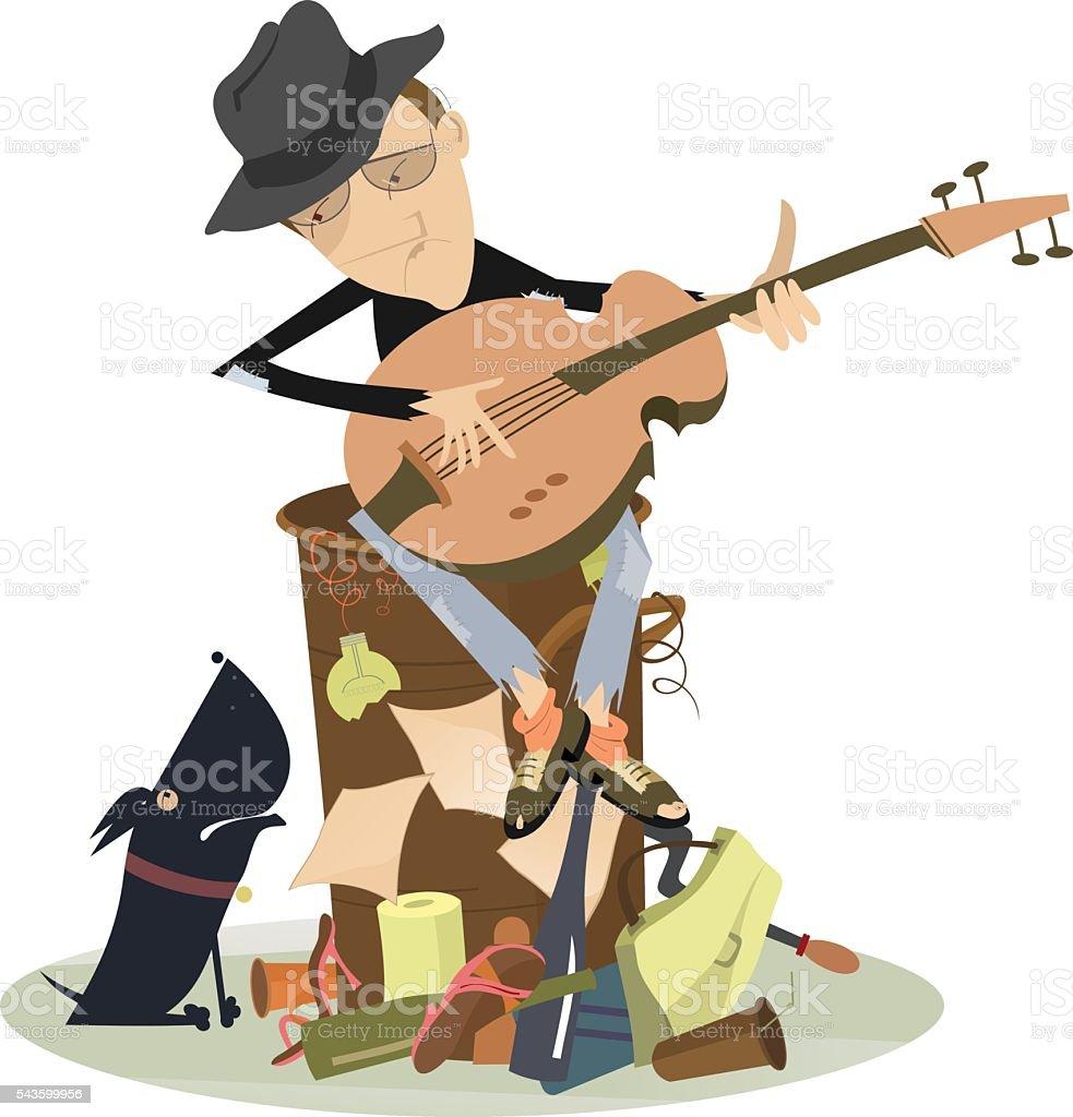 Sad blues or jazz man plays guitar vector art illustration