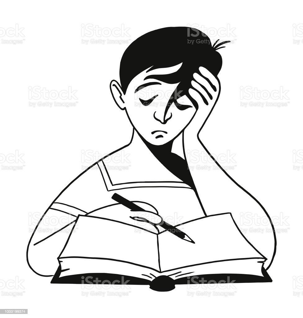 Sad boy doing homework royalty free sad boy doing homework stock vector art