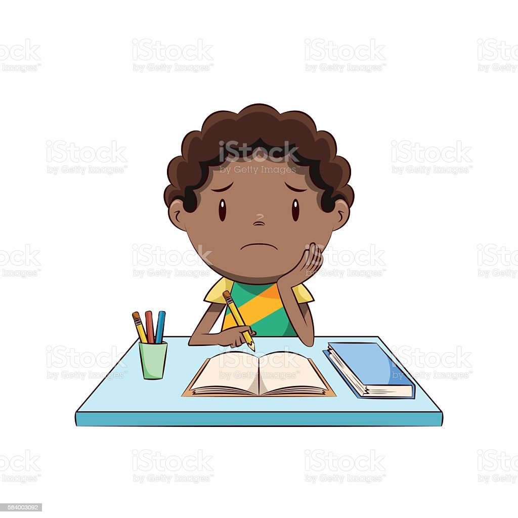 Sad boy, homework vector art illustration